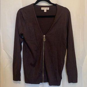 Michael Kors Brown Zip Front Cardigan